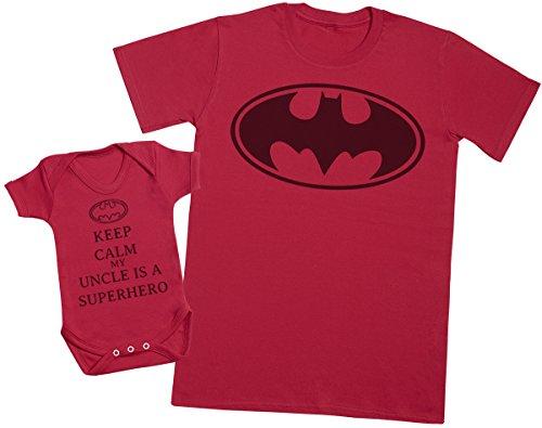 Zarlivia Clothing Keep Calm My Uncle is A Superhero - EIN Teil - Teil des Sets - Rot - 3XL - Erwachsene T-Shirt