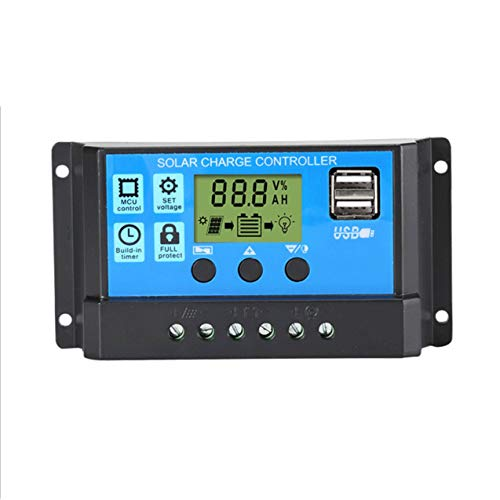 NewIncorrupt Solarladegerät Controller 60A 50A 40A 30A 20A 10A 12V 24V Batterieladegerät LCD Dual USB Solarpanel Regler Für Max 50V