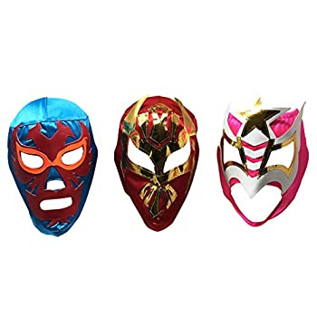 LuchaTrucha 3PACK Máscaras de Luchador   Assorted Mexican Wrestling Masks   Costume for Mexican Fiesta   Adult Size Lucha Libre Mask Various One Size