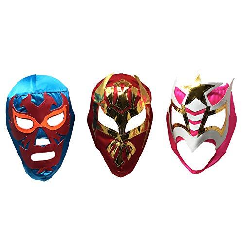 LuchaTrucha Pacote com 3 Máscaras de Luchador | Máscaras Mexicanas de Luta Livre sortidas | Fantasia para Fiesta Mexicana | Máscara Lucha Libre tamanho adulto variada, tamanho único