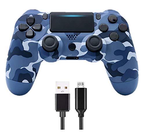 DY Wireless Controller für PS4, Game Controller Joystick für PlayStation 4 mit USB-Kabel, Camouflage Blau