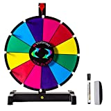 Voilamart 12' Tabletop Spinning Prize Wheel 12 Slots with Durable Plastic Base, Dry Erase, 2 Pointer, for Fortune Spin Game in Party Pub Trade Show Carnival