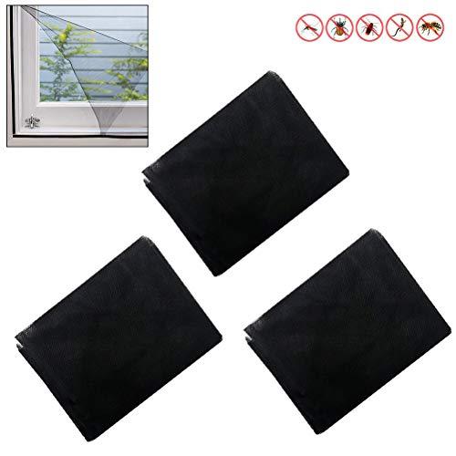 Comtervi insectenwerende horren voor ramen 150 x 200 cm antraciet bescherming tegen insecten op maat te snijden - muggenbescherming zonder boren