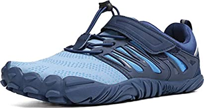 WHITIN Men's Minimalist Barefoot Shoes Low Zero Drop Trail Running 5 Five Fingers Wide Toe Box for Male Flat Heel Comfort Comfortable Treadmill Blue Size 8