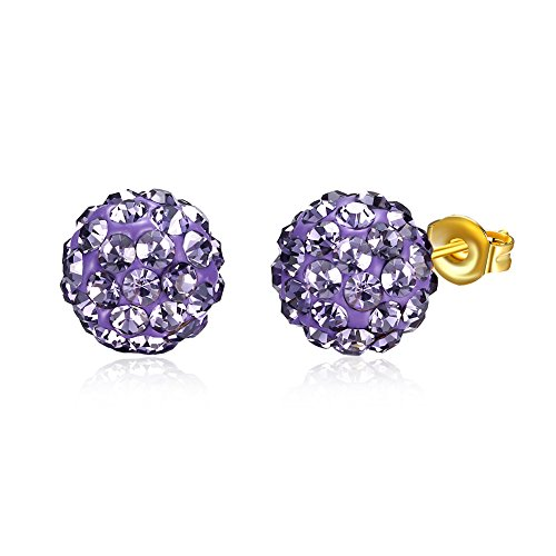 Styleziel - Pendientes de bola con pequeños cristales, color violeta, lila y dorado 9 mm 2248.