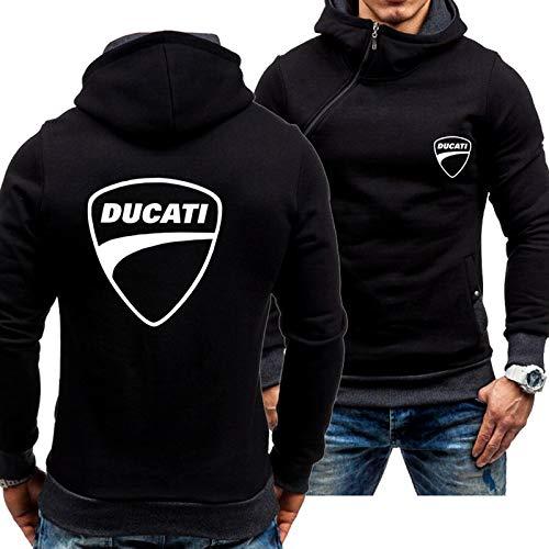 QWEIAS Herren Pullover Hoodies Sweatshirts Für Ducati Print Langarm Mohoed Sportswear Mäntel Frühling Herbst Casual Outwear Tops - Teen Geschenk C-XX-Large