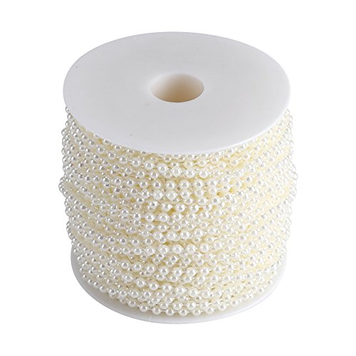 Zerodis Künstliche Perlen Perlenschnur Kunstperle Perlengirland für Armband Vorhang Hochzeit Weihnachten Dekor Beige Weiß 40m/Rolle 4mm(Beige)