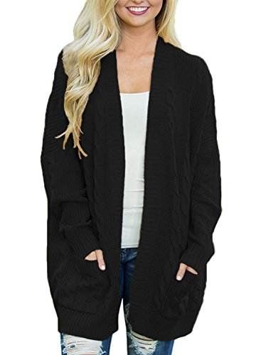 BLENCOT Womens Plus Size Autumn Winter Sweaters Cotton Cozy Cable Knitted Cardigan Black Pullover Sweaters Pockets Outwear Coat 2XL