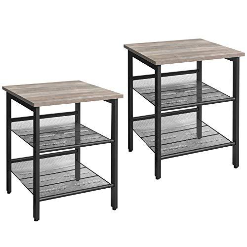 VASAGLE Side Table Set, Nightstand, Set of 2 Industrial Bedside Tables, with Adjustable Mesh Shelves, Living Room, Bedroom, Hallway, Office, Stable, Greige and Black LET024B02