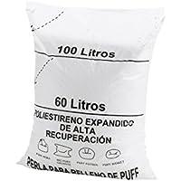 Textilhome - Relleno para Puff de Bolas (Perlas) 60 litros - Poliestireno de Alta recuperación y Gran Volumen.