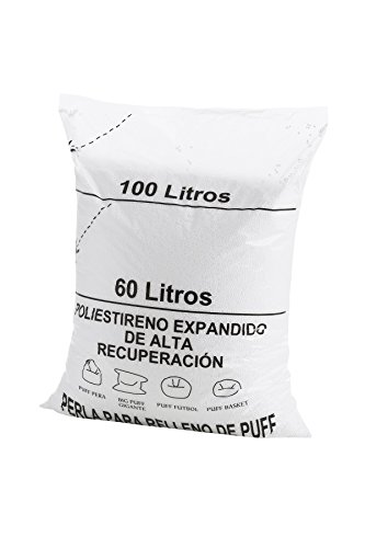 Textilhome - Relleno para Puff de Bolas (Perlas) 100 litros - Poliestireno de Alta recuperación y Gran Volumen.