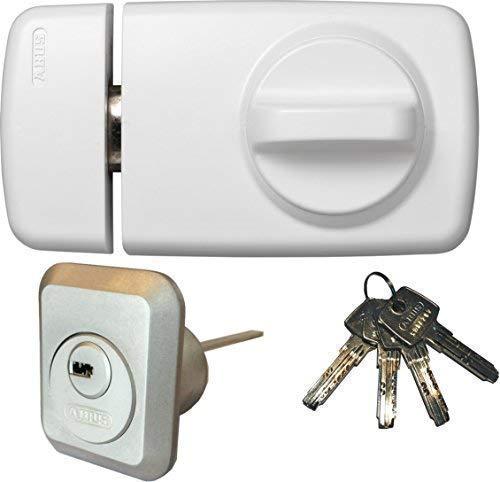 ABUS Tür-Zusatzschloss 7010 W weiß, EC550, Kastenschloss mit Drehknauf, mit 4 Schlüssel, Ausführung EK (Metallausführung)