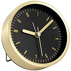 Foxtop Small Alarm Clock 3.5 inch Silent Non-Ticking Table Clocks Battery Operated Simple Design Desk Clock for Bedroom, Bedside, Desk (Gold)