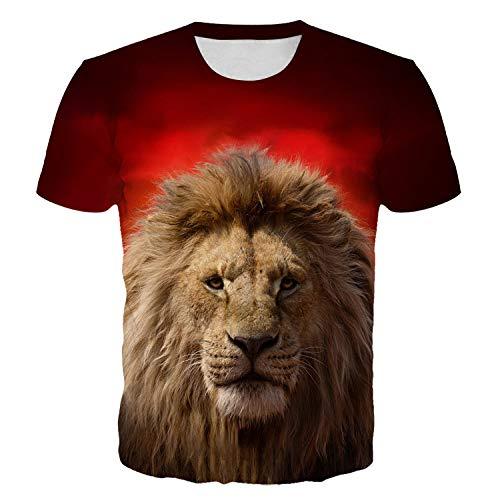 JSWBNMU T-Shirt Imprimé en 3D,Roi Lion Imprimé Animal Unisexe T Shirt Pull Col Rond Manches Courtes Décontracté Grande Taille des T Shirts Tops Fashion Vêtements Couple Sauvage,S