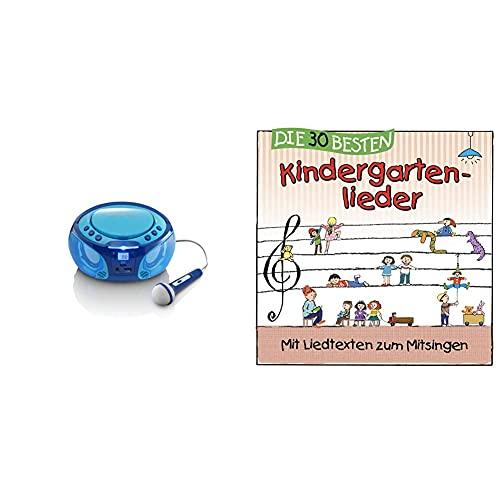 Lenco SCD-650 - Kinder CD-Player - CD-Radio - Karaoke Player - Stereoanlage - CD/MP3 und USB Player - 2 x 2 W RMS-Leistung - Blau & Die 30 besten Kindergartenlieder - Mit Liedtexten zum Mitsingen
