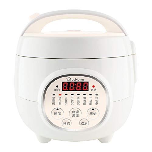 ecHome Reiskocher, 0,8 l, 3-in-1, antihaftbeschichtet, elektrisch, 300 W, Warmhalten, Congee Suppe RKC80C
