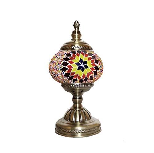 Lampada Turca da Tavolo Mosaico di Vetro per Comodino Vintage da Decorare, Fatta a mano, Bronze Base (Marrone)