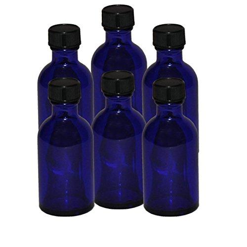 6 x flacons vides en Verre Bleu avec Bouchon - Contenance 50 ML - FLF50