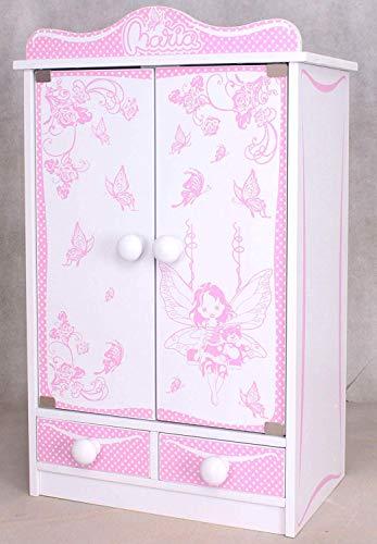 habeig Kinderschrank #822 Kleiderschrank 52 cm hoch Wandschrank Hängeschrank weiß 2 Türen Puppenschrank
