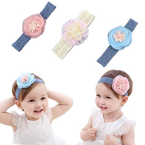 IYOU - Diadema de flores para bebé niña con granos de encaje y flor, para niños como fiesta, boda, fotografía, accesorios para el pelo (pack de 3)
