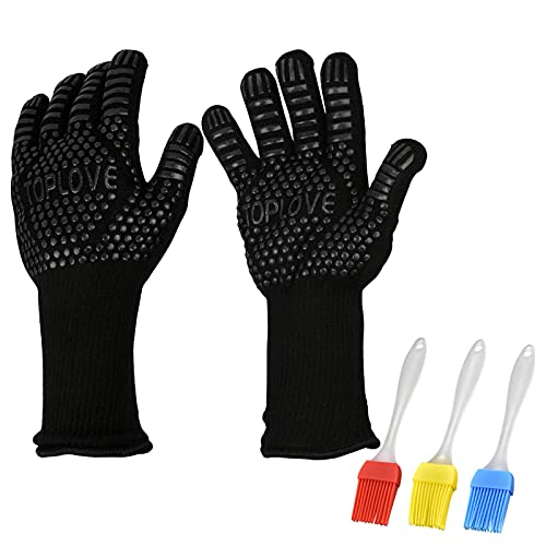 BBQ Grill Gloves [1472? NEWEST] EN407/EN420 CE Heat Resistant - Oven Silicone Glove Fireproof for Smoker Baking - High-temp Barbecue Grilling Potholders - Heat-insulated Cooking Mitt, X-Long