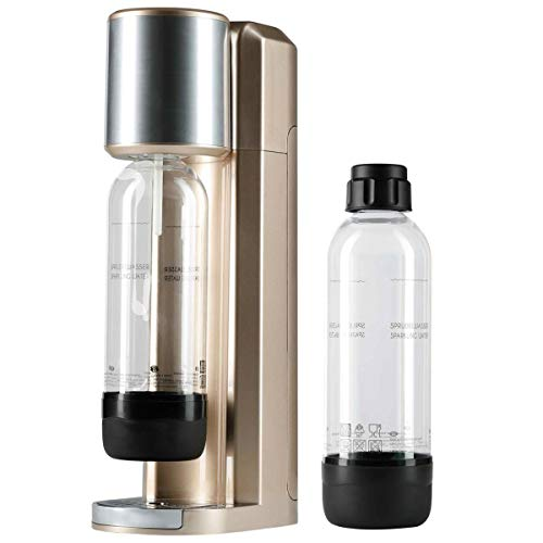 Zoomyo Glasslife Soda Maschine, Wassersprudler inkl. 2 PET-Flaschen mit je 0, 75 l Inhalt, stoppt Wasserkisten schleppen, einfach Leitungswasser mit Kohlensäure nach Wunsch aufsprudeln (Rose-Gold)