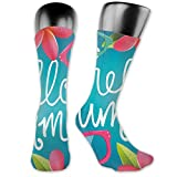 Soft Mid Calf Length Socks,Funky Illustration Of Summer Images Colorful Sunglasses And Frangipani Buds,Women Men Socks Cotton Casual Funny Cute
