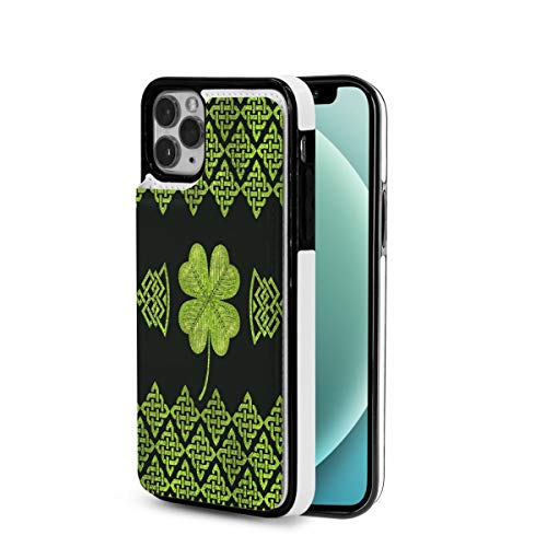 Irish Four Leaf Lucky Clover Vintage Celtic knot iPhone 12 Wallet Case with Card Holder Slots TPU+PU Leather Case Designed for Iphone12 Mini-5.4 2020 Slim Protective Cell Phone Cover Wireless Charging