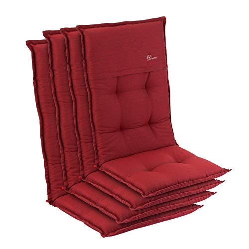 Homeoutfit24 Elbe - Cojín para sillas de jardín, Hecho en Europa, Respaldo Alto de dralón, Lavable, Banda elástica Ajustable, Relleno Espuma, Resistente Rayos UV, 4 Unidades, Rojo