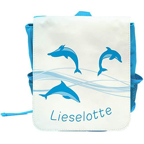 Kinder-Rucksack mit Namen Lieselotte und schönem Delfin-Motiv für Mädchen | Rucksack | Backpack