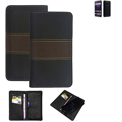 K-S-Trade Handy Hülle Für ZTE Blade V8 64 GB Schutzhülle Walletcase Bookstyle Tasche Schutz Hülle Handytasche Wallet Cover Kunstleder Snapcase Dunkelbraun, 1x