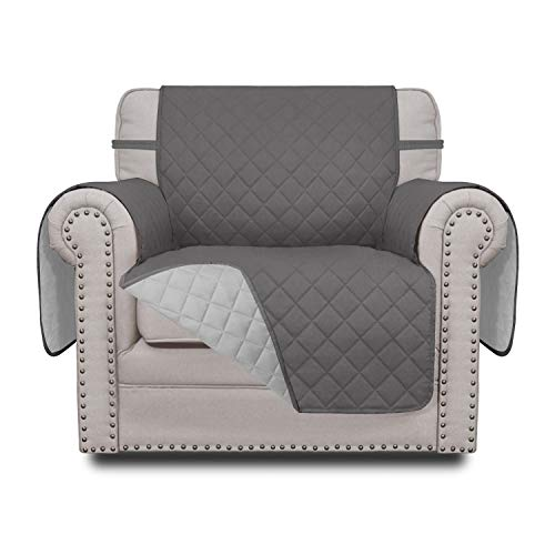 Easy-Going Sofa Slipcover Reversible Chair Cover Water Resistant Couch Cover Furniture Protector with Elastic Straps for Pets Kids Children Dog Cat(Chair, Gray/Light Gray)