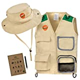 Born Toys Explorer and Safari Costume Vest and Hat Set for Kid Explorer and Outdoor Dress up and Role Play-Great for Park Ranger Paleontologist Zoo Keeper Costume and Adventure Kids Beige