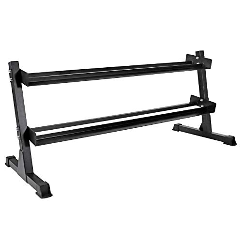 CAP Barbell Heavy-Duty 2-Tier Dumbbell Rack for 5-50 Pound Dumbbell Pairs, Black (RK-550)