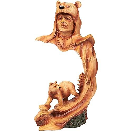 Juvale Indianerfigur - Indianer-Krieger, Indianische Skulptur mit Bär - Polyresin - Ideal für Innendekoration, Heimdekoration - Braun, 11,4x22,9 x 7,6cm