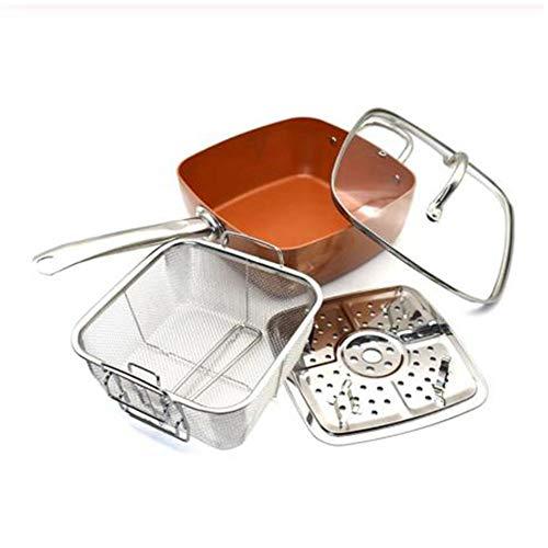 Red Copper Square Pan, set di 4 padelle in ceramica antiaderente con pentola quadrata da 10 pollici, coperchio in vetro, cestello, istruzioni per ricette (lingua italiana non garantita)
