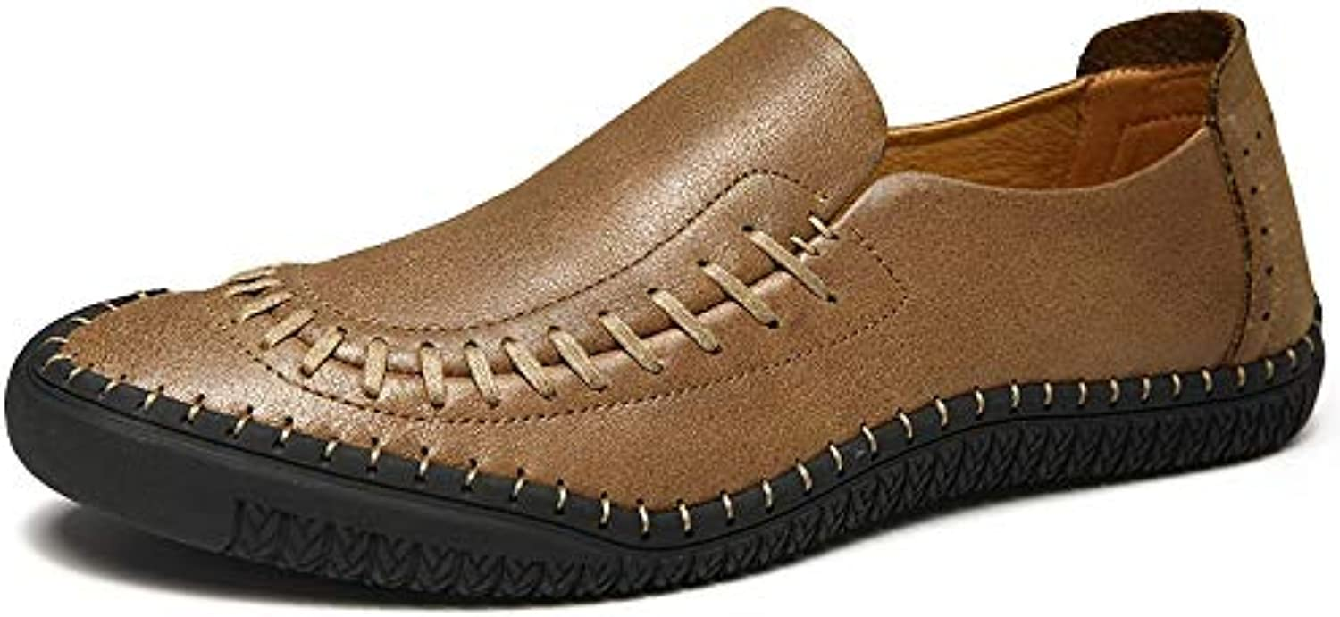 Williess Leather Casual shoes Men's Toe Leather shoes Lazy shoes (color   Khaki, Size   43)