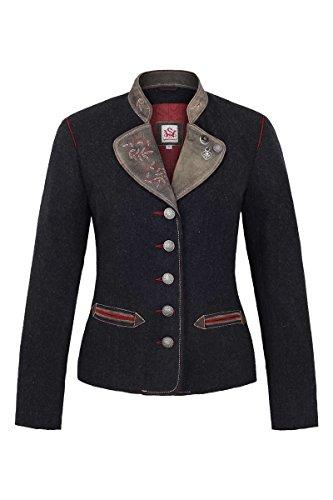 Spieth & Wensky Damen Damen Trachtenblazer Wolle Ziegenvelour grau rot, grau-rot, 38