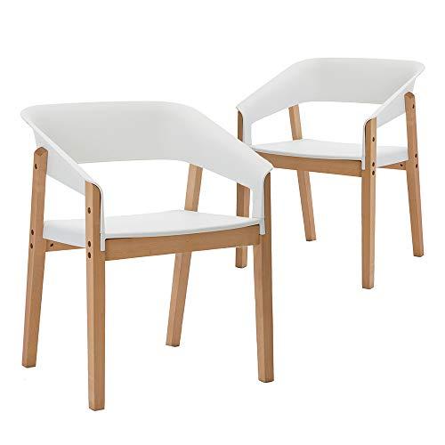 Teraves Mid Century Esszimmerstuhl-Set, mit Holzbeinen, für Büro, Wohnzimmer, mit Armlehne und Rückenlehne, 2 Stück, Polypropylen, Weißbuche, 2 pcs