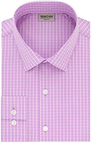 Kenneth Cole REACTION Men s Dress Shirt Slim Fit Technicole Stretch Check Thistle 16 Neck 32 product image