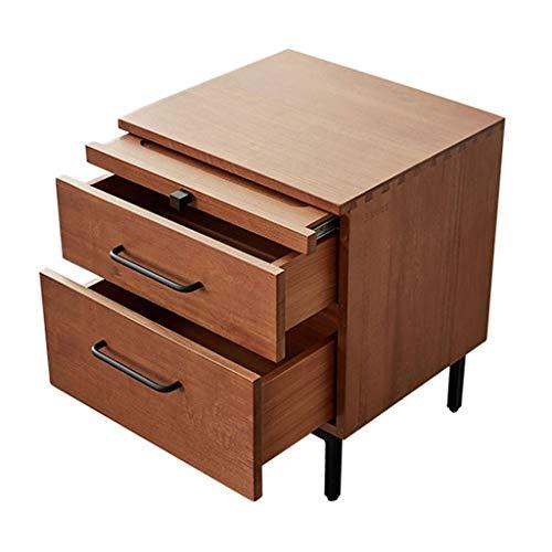 Allt massivt trä sängbord skåp sovrum möbler förvaring skåp förvaring sängbord skåp djup låda flera ritningar förvaring tenon process (färg: Brun, storlek: 45 x 40 x 55 cm)