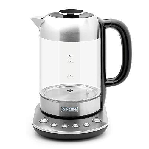 Haden Richmond Kettle – Electric Variable Temperature Fast Boil Kettle, 3000W, 1.7Litre, Brushed Stainless-Steel & Glass - SF124