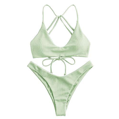 ZAFUL Conjunto de bikini de corte alto para mujer con tiras y escote en U. verde M