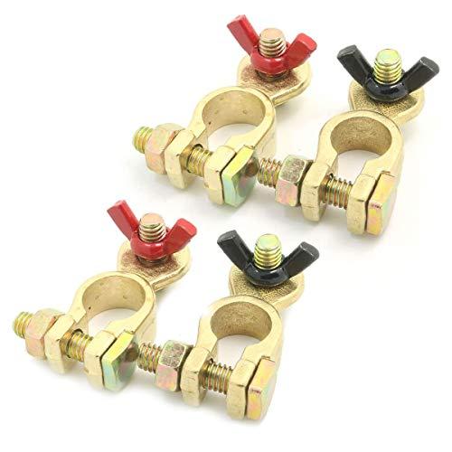 ZHITING 4 pezzi Auto Terminale Batteria Connettori di Batteria Morsetti Positivo Negativo Battery Terminal con Dado ad Ala per Camion Barca