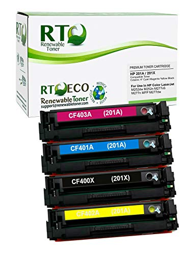 Renewable Toner Compatible Toner Cartridge High Yield Replacement for HP 201X CF400X CF401A CF402A CF403A Laserjet Pro MFP M277n M252 (Cyan, Magenta, Yellow, Black, 4-Pack)