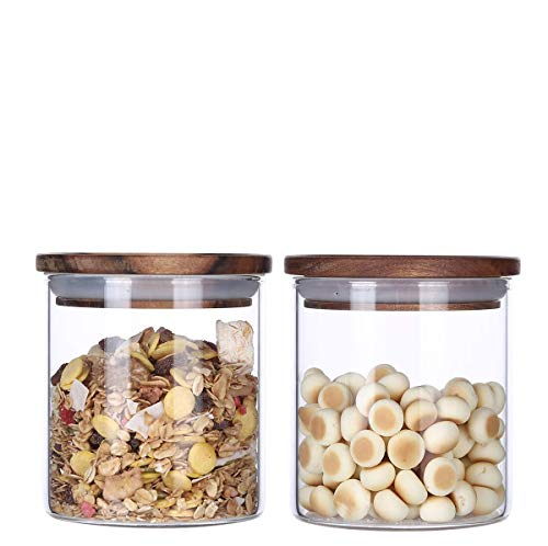 KKC Glass Storage Jars with Airtight Lids,Canister Jars with Wooden Lids,Sealed Glass Containers with Wood LIds,Kitchen Jar for Ground Coffee,Sugar,Salt,18 FLoz,Pack of 2