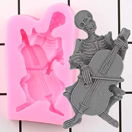 LNOFG 3D Skull Skull Silicone Mold Cello DIY Fudge Cake Decoration Tool Polymer Clay Mold Candy Chocolate Fudge Mold
