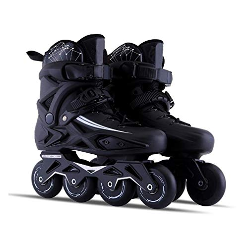 Inline Skating Outdoor Adult Black Professional Roller Inline Skates, Comfortable Freestyle Racing Skates for Women and Youth Inline Skates,Size:41 EU/8 US/7 UK/25.5cm JP,Colour:Black