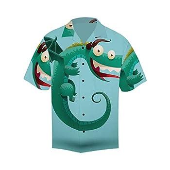 InterestPrint Men s Casual Button Down Short Sleeve Cartoon Funny Flying Dragon Hawaiian Shirt XXXXL