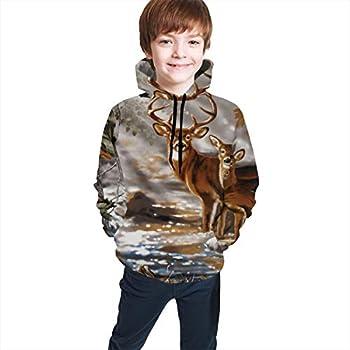 YongColer Unisex Realistic 3D Digital Print Pullover Hoodie Hooded Sweatshirt Real Tree Camouflage Deer S